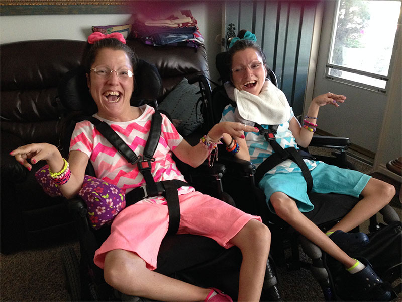 Kellie-Sibling: Twin Sisters with Quadriplegic Cerebral Palsy